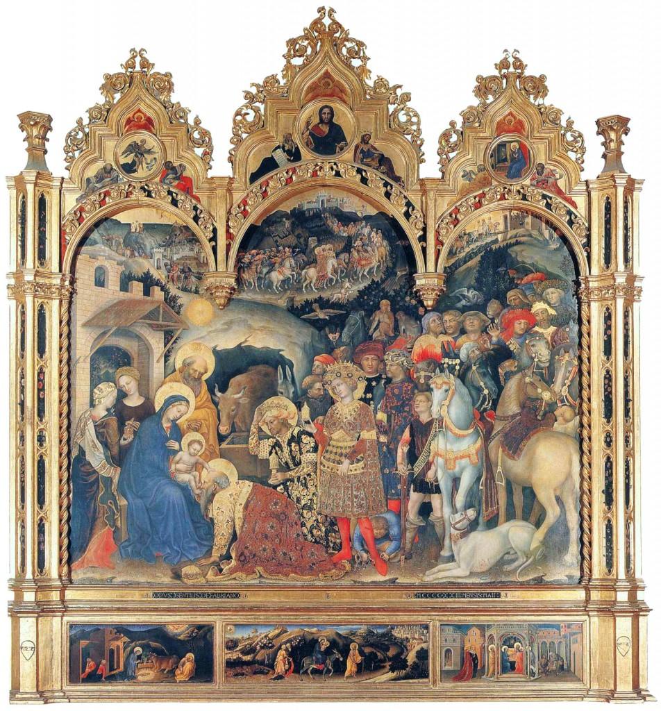 L'Adorazione dei Magi di Gentile da Fabriano (Galleria degli Uffizi, Firenze)