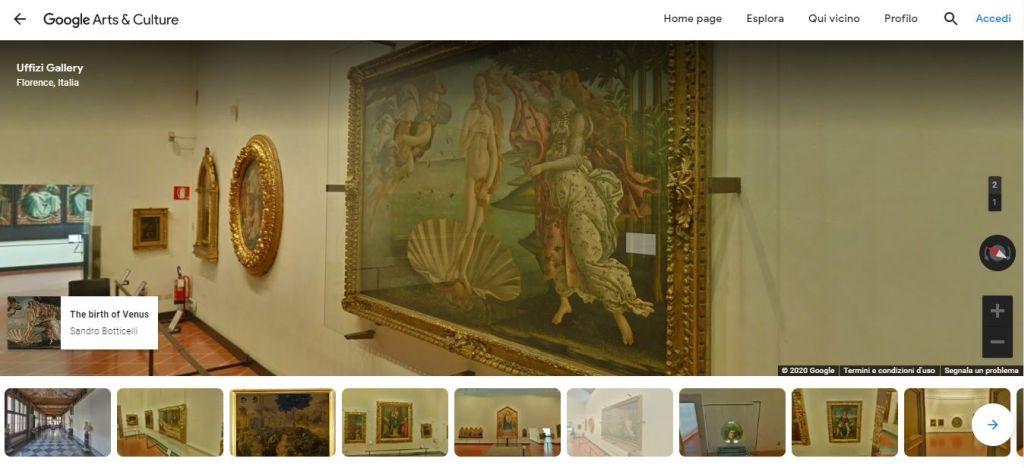 Visita virtuale degli Uffizi su Google Arts & Culture